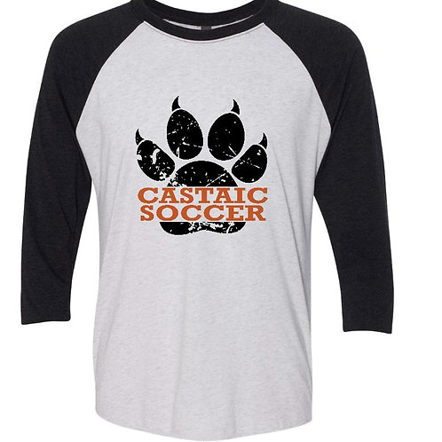 Castaic Soccer 3/4 sleeve T-shirt with distressed paw