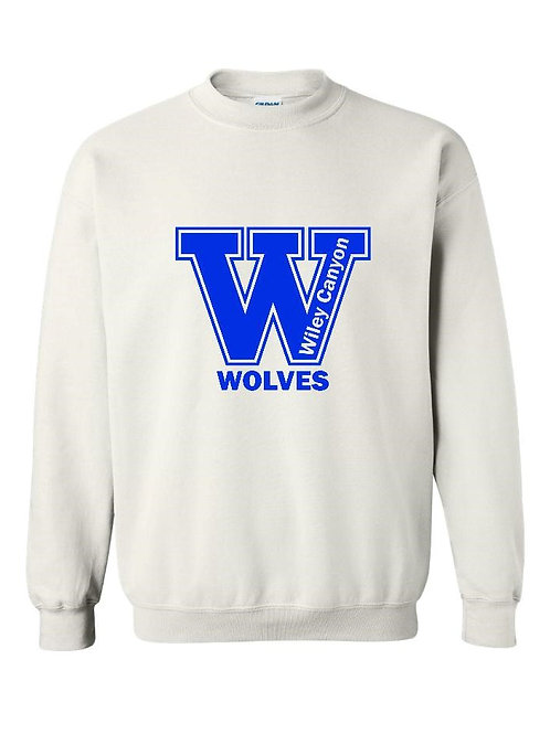 Wiley Canyon Wolves White Crew Sweatshirt