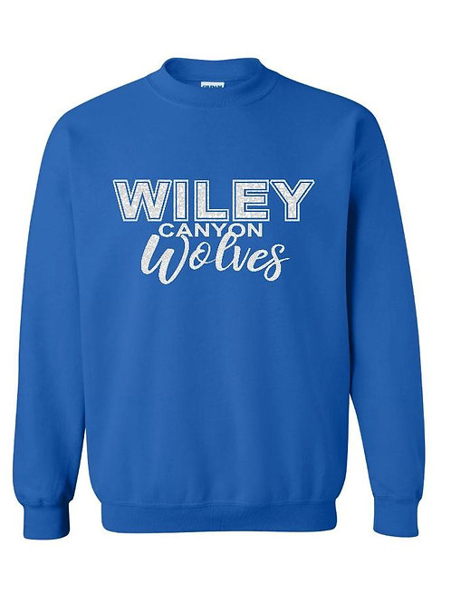 Wiley Wolves Royal Crew Sweatshirt with White Glitter