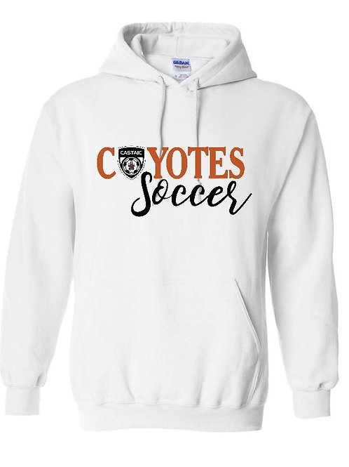 Coyotes Soccer with small crest White Hoodie