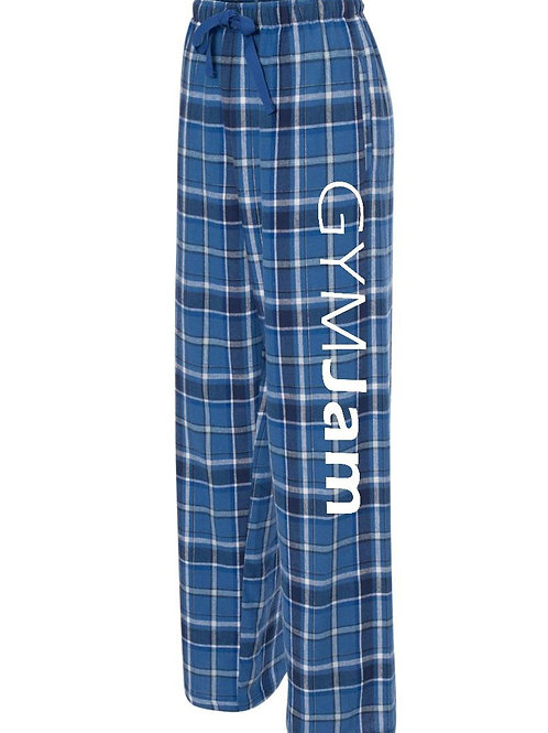 Wallers' Blue /Black Plaid GYMJAM Unisex Flannel PJ Bottoms