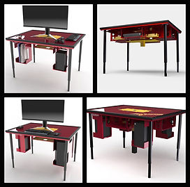 BGS Modular Console & PC Gaming Table Showing four different Configuration Setups