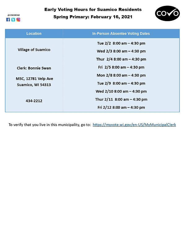 Early Voting Hours for Suamico February