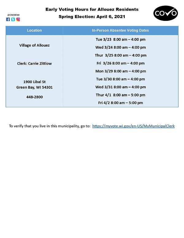 Early Voting Hours for Allouez April 6.j