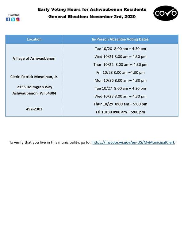Early Voting Hours for Ashwaubenon Nov 3