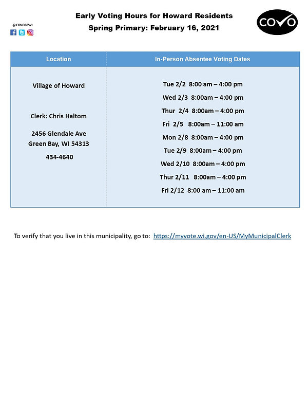 Early Voting Hours for Howard February 1