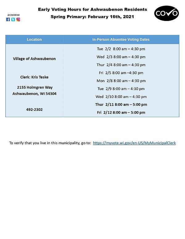 Early Voting Hours for Ashwaubenon Febru