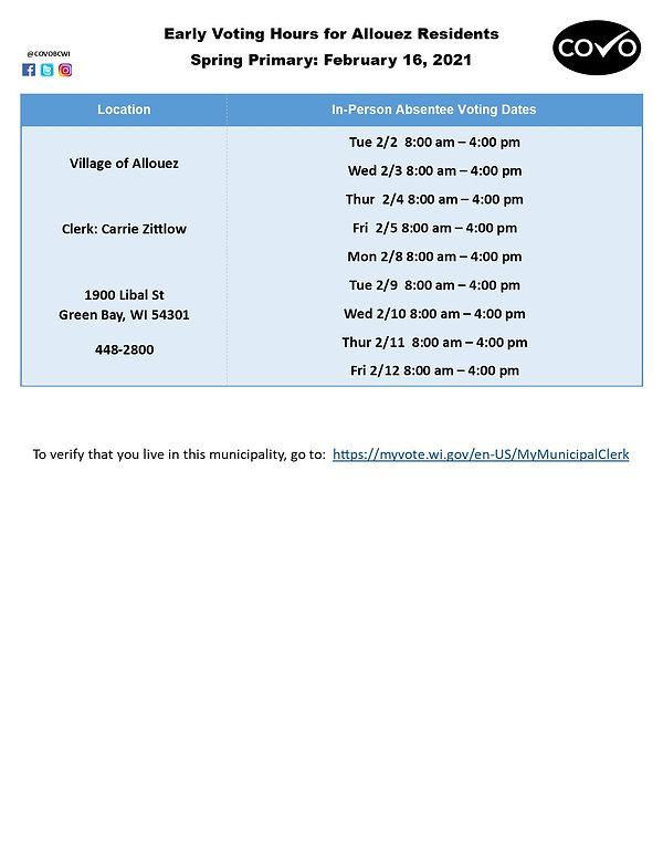 Early Voting Hours for Allouez February