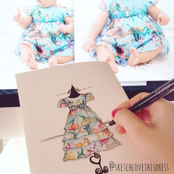 Este Sketch Infantil é da filha de uma cliente (que eternizei o vestido de noiva) e que agora queria