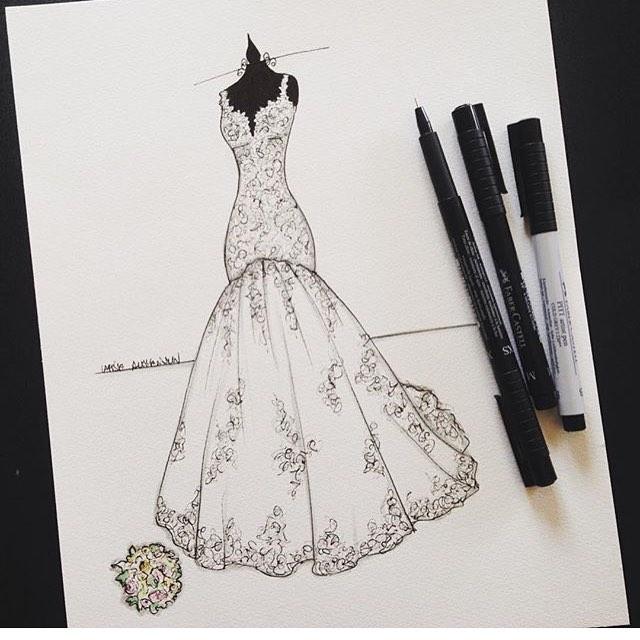 Ilustração do vestido de noiva com o buquê 🇺🇸 Bride illustration with the bouquet