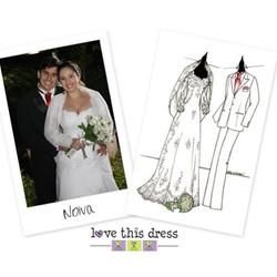 Para lembrar pra sempre do casamento, a noiva encomendou o Sketch dos Noivos e pediu para ilustrar t
