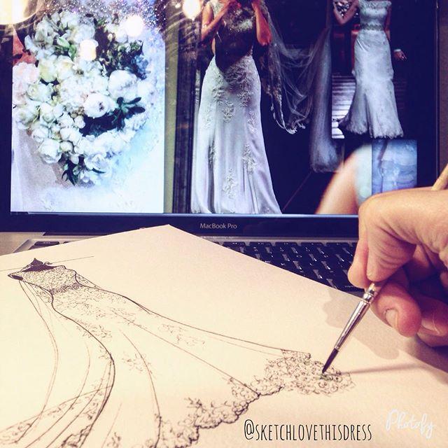 Mais um Sketch de Noiva pronto para imortalizar o vestido mais especial na vida de uma novia! 🇺🇸 A