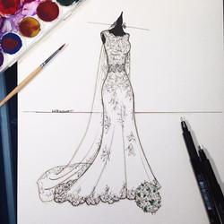 E aqui está a ilustração completa (Sketch) que a amiga encomendou, para presentear a noiva depois do