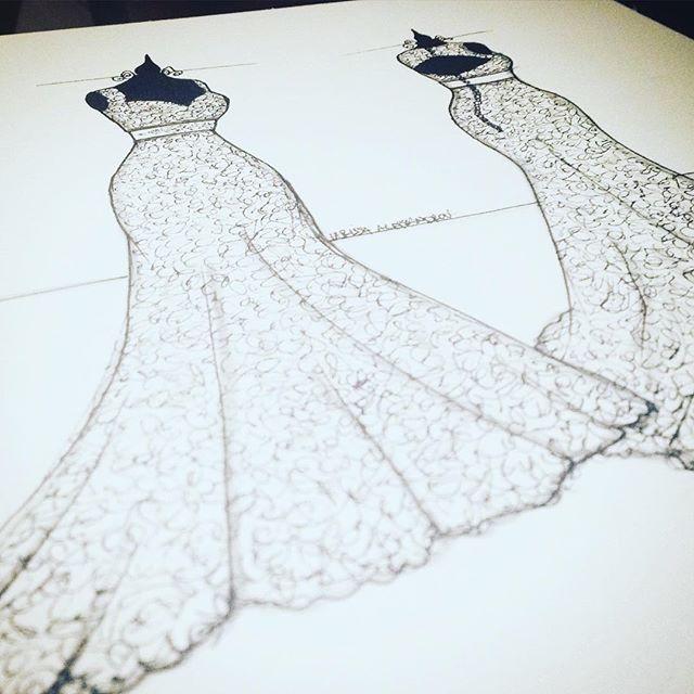 Ilustração do vestido que a noivinha usou no casamento __ 🇺🇸 Illustration of the wedding dress the