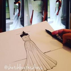 Mais um Sketch feito para decorar o casamento, olha que vestido maravilhoso que ela escolheu!❤️_Apro