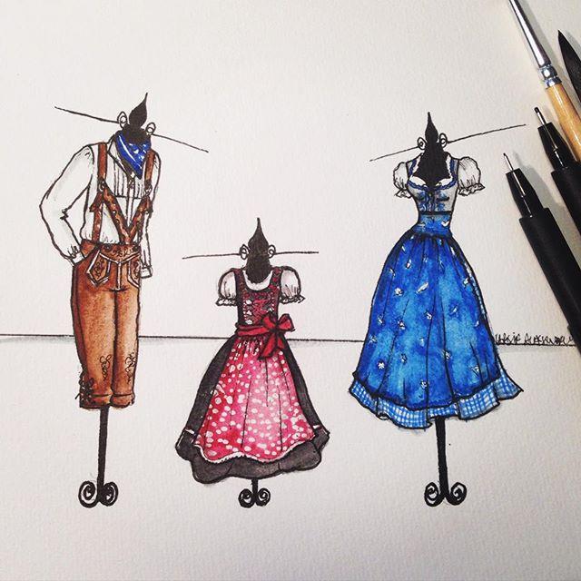 Ilustração (sketch) das roupas típicas alemãs usadas para a festa de 1 ano da filha da minha querida