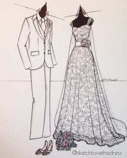 Mais um Sketch com a ilustração da roupa dos noivos, e claro que não poderia esquecer do sapato e bu