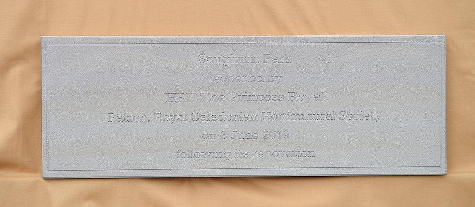New plaque, unveiled by HRH Princess Ann