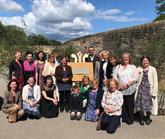 Some of the Friends and the new plaque. Official opening of Saughton Park 6th June 2019.