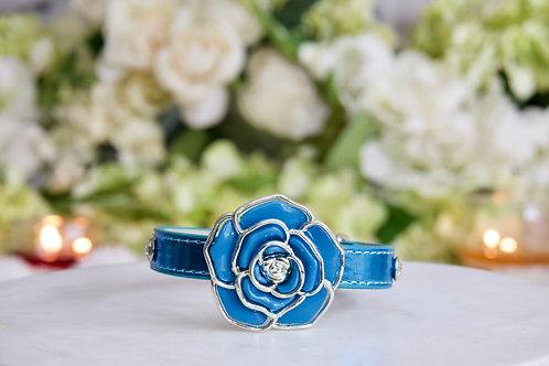 NEW! Luxury Mermaid Blue Rose Pet Collar Vegan