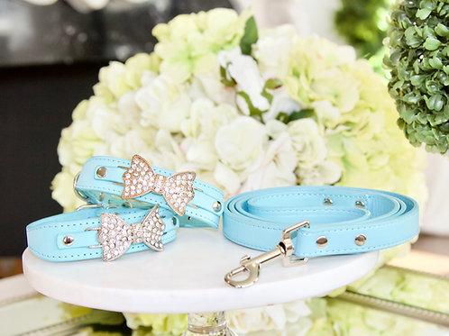 Luxury Tiffany Blue Rhinestone Bow Pet Collar & Leash Set