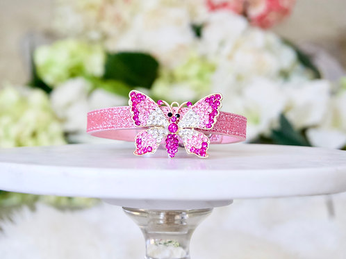 NEW! Majestic Pink Crystal Butterfly Pet Collar
