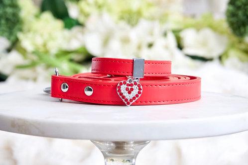NEW! Luxury 2 Piece Set Ferrari Red Rhinestone Heart Collar & Leash