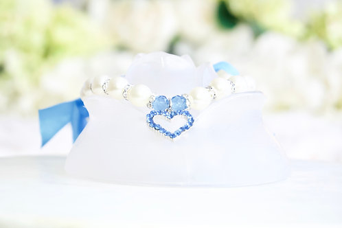 NEW! Luxury Prince Charming Sapphire Blue Heart Rhinestone & Pearl Pet Collar