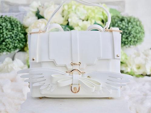 Luxury Angel Wing White Vegan 4 Way Convertible Handbag Backpack Crossbody