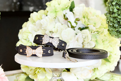 Luxury Leash + Collar Set Black Beauty