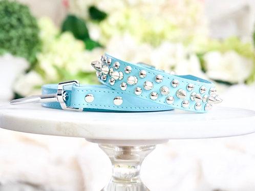 Luxury 2 Piece Set Triple Spike Tiffany Blue Pet Collar & Leash Set
