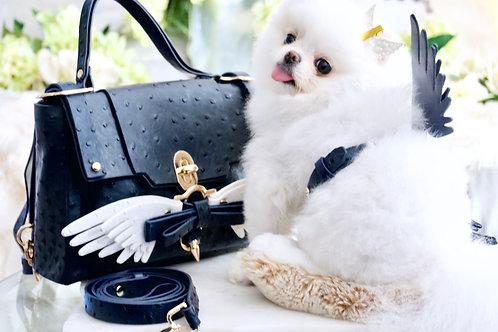3 Piece Set - Luxury Dark Navy Ostrich Angel Wing Harness Leash & Handbag
