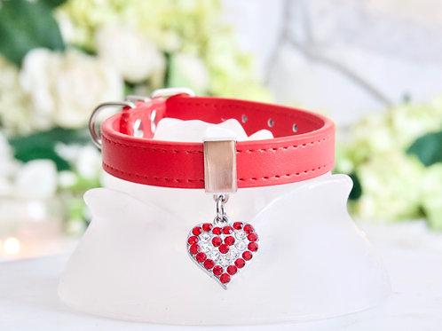 NEW! Luxury Ferrari Red Rhinestone Heart Collar