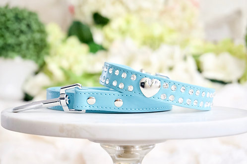 2 Piece Set Tiffany Blue Heart Rhinestone Pet Collar & Leash Set