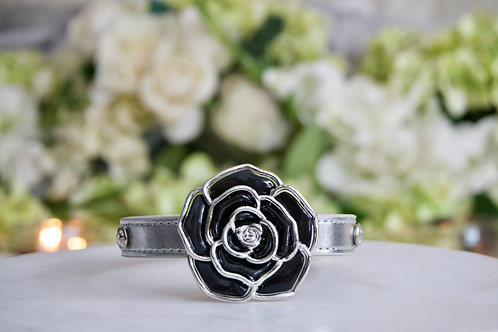 NEW! Luxury Luxury Maleficent Black & Silver Rose Pet Collar Vegan