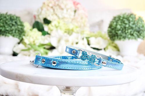 NEW! Luxury 2 Piece Set Metallic Blue Thin Bone Pet Collar & Leash
