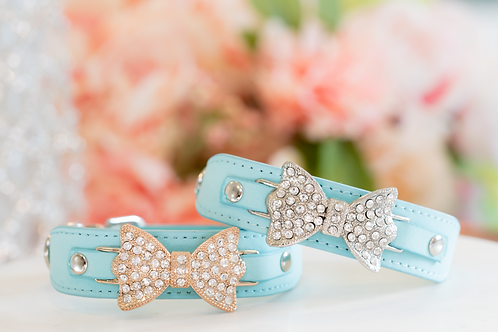 Luxury Tiffany Blue Rhinestone Bow Pet Collar