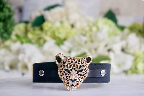 NEW! Luxury Crystal Jaguar Black Vegan Leather Pet Collar