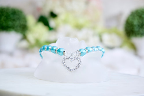NEW! Luxury Mermaid Blue Heart Rhinestone Pearl Pet Collar