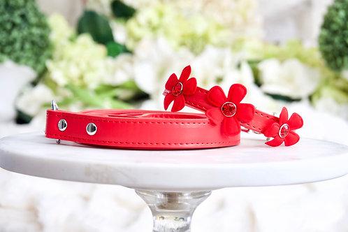 NEW! Luxury 2 Piece Set Fairy Flower Red Rhinestone Collar & Leash