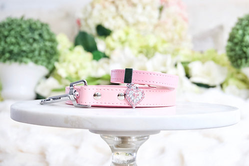 NEW! Luxury 2 Piece Set Baby Pink Crystal Heart Collar & Leash