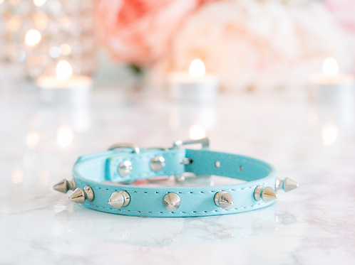 Luxury Tiffany Blue Spike Vegan Pet Collar
