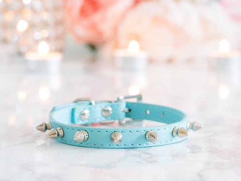 Luxury Tiffany Blue Spike Vegan Pet Collar