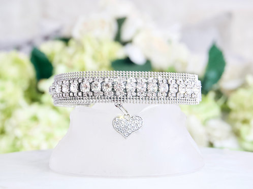 NEW! Ultimate Crystal Embellished Collar with Crystal Heart Pendant
