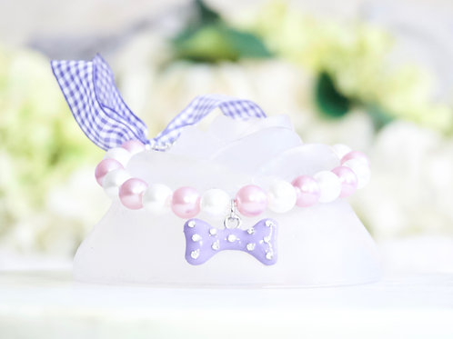 NEW! Luxury Unicorn Purple Crystal Bone & Pearl Pet Collar