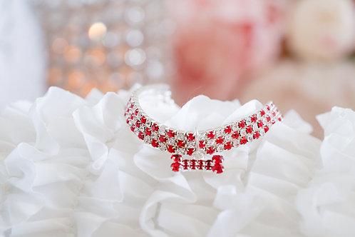 Luxury Ruby Red Crystal Rhinestone Pet Collar