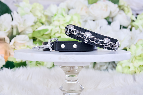 NEW! Black Crystal Skull Collar and Leash Set