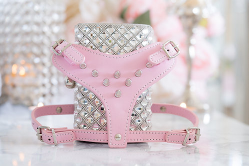 Luxury Pink Spike Pet Harness + Leash Set Vegan Leather