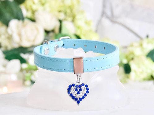 NEW! Luxury Tiffany Blue Crystal Heart Collar