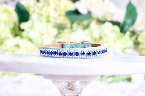 NEW! Divine Tiffany Blue Sapphire Crystal Embellished Dog Collar